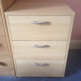 Wooden bedside cabinet with 3 drawers, light wood, silver handles