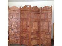 4 fold screen, beautiful four fold screen in eastern hardwood 6 foot tall