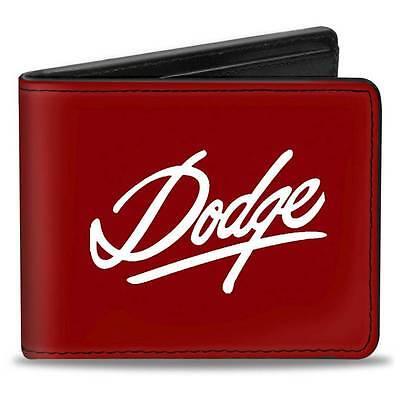 Men Wallet Bifold Black DODGE Emblem Script Burgundy White Logo Genuine