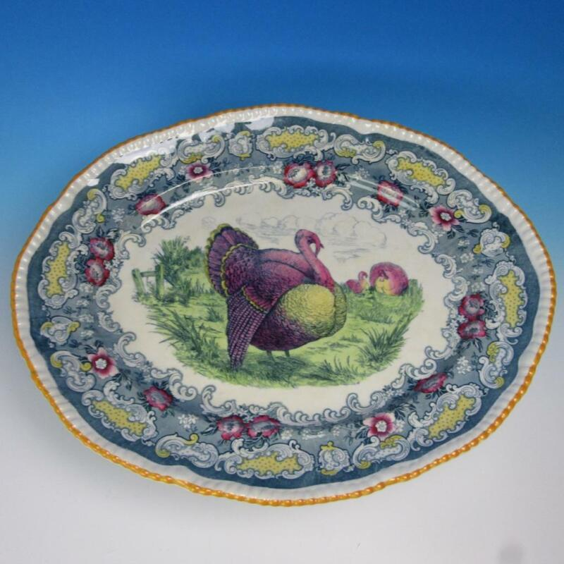 Athena Bisto England - Colorful Thanksgiving Turkey Platter - 20¾ by 17 inches