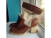 original LACOSTE PARIS brown leather and knitwear boots high heels
