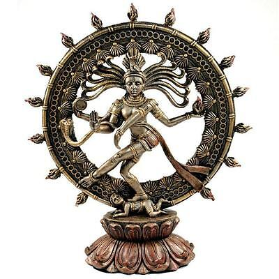 "DANCING SHIVA STATUE 9"" Nataraja Hindu God GOOD QUALITY Bronze Resin Deity India"