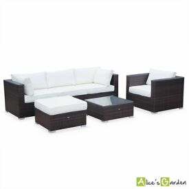 5 seater ready assembled garden sofa set, brown / off white