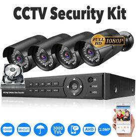 1080p CCTV Security Camera System Kit. 4x Full HD 1080p Cameras, 8Ch Full HD 1080p DVR, Cables etc.