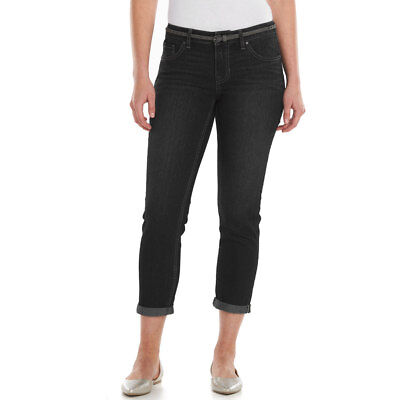 New Apt 9 Women's Stretch Cuffed Slim Capri Jeans Belt Black Size 6-16 MSRP $44