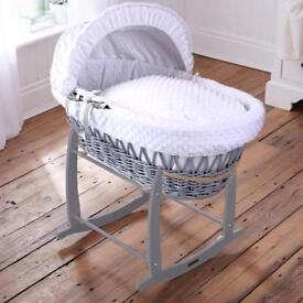 Claire De Luna Moses Basket with Deluxe Rocking Stand RRP £115.99