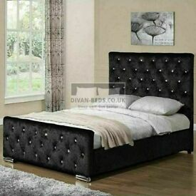 🔵💖🔴MODERN DESIGN🔵💖🔴CRUSH VELVET CHESTERFIELD DOUBLE BED ALL SIZE AVAILABLE SINGLE KING SIZE