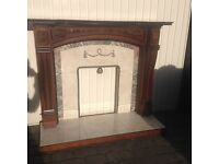 FIRE SURROUND, TILED INSERT AND HEARTH