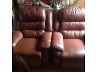 Super comfy Italian leather chairs,2 of,full electric recliners(2 seater sofa if wanted)