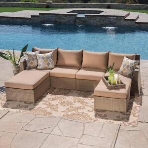 (MS090) Hampton Beige ensemble de sofa extérieur 6 pièces
