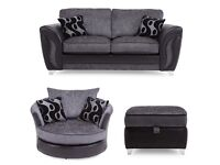3 PIECE SET Farrow 2 seater formal back sofa with swivel chair & storage footstool