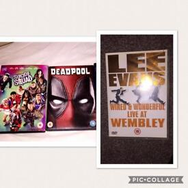 DVDs (Suicide Squad, Lee Evans, Deadpool)