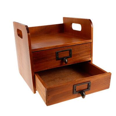 Wooden Storage Chest Box Office Home Desktop Organizer with Drawer