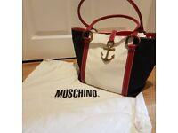 Moschino red white and navy handbag