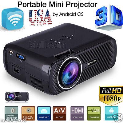 4000Lumens 1080P HD Projector Mini 3D LED Home Theater Cinema HDMI USB VGA SD AV