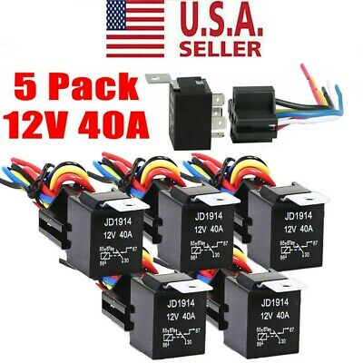 5pcs 12v 3040 Amp 5-pin Spdt Automotive Relay W Wires Harness Socket Set Usa
