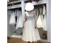 Candy Anthony size 10 tea length lace wedding dress