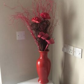 2 Red vase both with flowers!