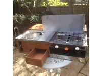 camping stove with grill and sink