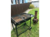 Large bbq barbecue and a free wood burner