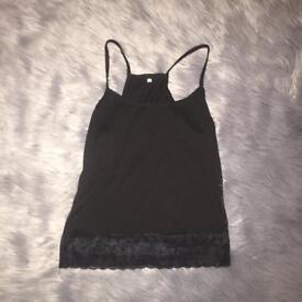 Black lace vest top size 10