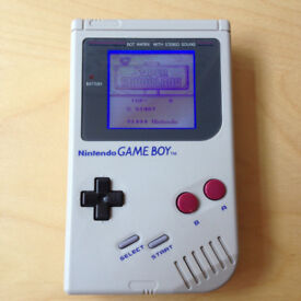 Backlit and biverted DMG Gameboy with new shell and glass screen