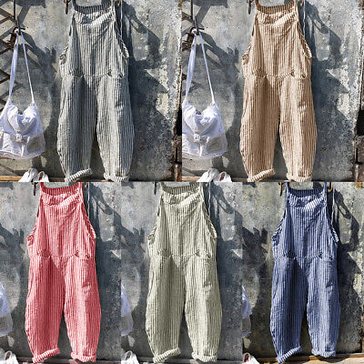Dungarees Ladies Womens Casual Striped Loose Playsuit Jumpsuit Overalls Baggy