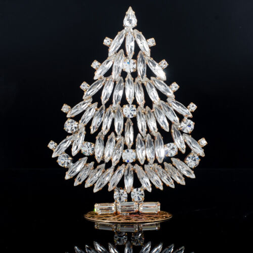 "Czech christmas tree - stand-up - rhinestone - 3.93"" x 2.75"""