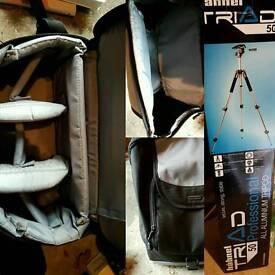 Pro camera tripod and camera bag.