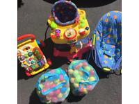 Bundle of baby stuff, bouncer/Walker/activity chair.