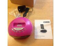 Pink FM Radio alarm clock and iPod/ IPhone docking station