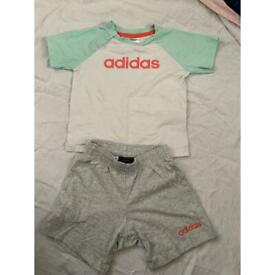 Adidas top and shorts (for baby 6 to 9 months)