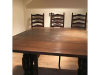 Folding dining or games table and three chairs for sale £60.00 excellent condition