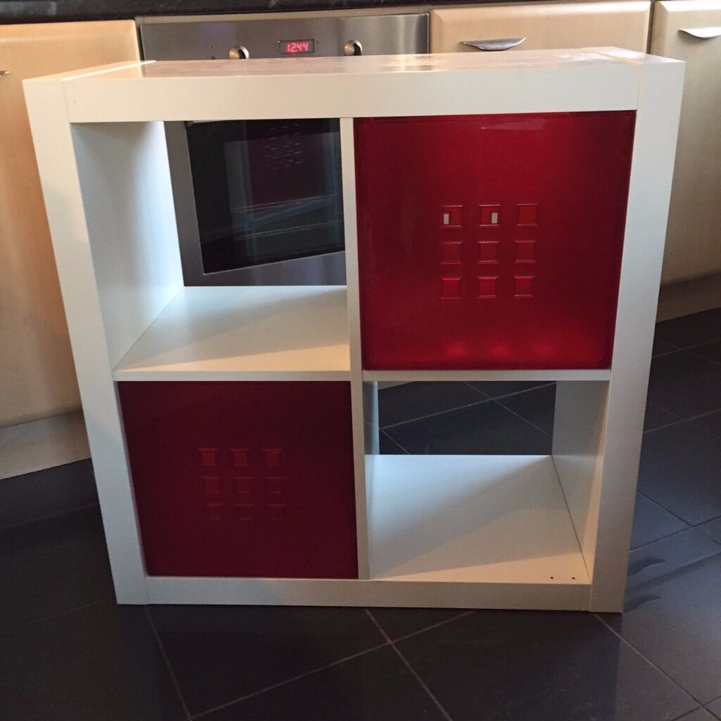 Ikea Expedit White Cube Unit With Two Red Drawer Inserts