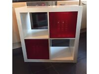 Ikea Expedit White Cube unit with two red drawer inserts x2