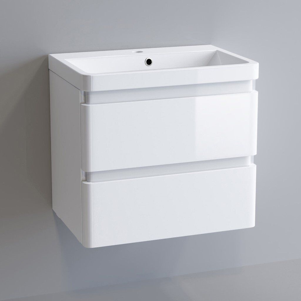 Modern Bathroom Vanity Unit Basin Sink Unit 2 Drawer ...