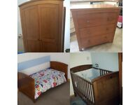 Silver Cross Nursery furniture- cotbed, wardrobe, changing unit
