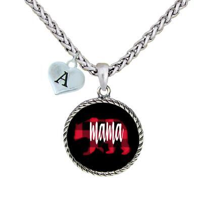 Custom Mama Bear Circle Charm Silver Necklace Jewelry Choose an Initial A-Z