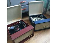 Two vintage record players. Working Dansette, non working Fidelia