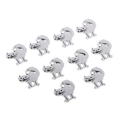 Scary Cats For Halloween (10x Retro Silver Halloween Scary Cats Charms For DIY Pendant Bracelet)
