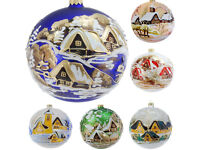 Details about Glass Christmas Bauble 120mm Handmade & Painted Balls Baubles Ball Tree