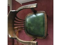 Captain's Chair, Original, Solid Oak with Green Leather Seat
