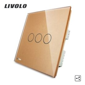 LIVOLO UK Intermediate Light Touch Switch & Remote Function,Golden Crystal Glass Panel,VL-C303SR-63