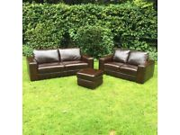 Brand new Genuine Leather Sofa Set - Ex high Street Stock - 3+2+stool - Fast delivery Available