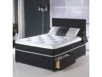 HUGE BED SALE BRAND NEW DOUBLE DIVAN BED BASE WITH MEMORY FOAM MATTRESS