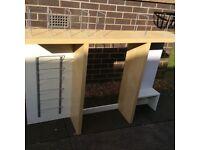 Top desk shelving from Ikea.