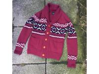 Fyi burgundy wool knitted cardigan small
