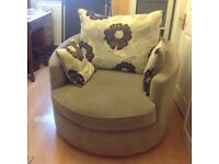 Large chaise sofa and Twister chair with fabric warranty until 29/5/2018