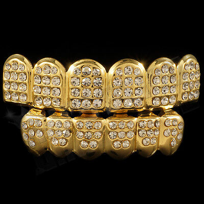 14K Gold Teeth GRILLZ ICED OUT CZ Tooth Caps Grill Hip Hop Bling Top Bottom (Bottom Set)