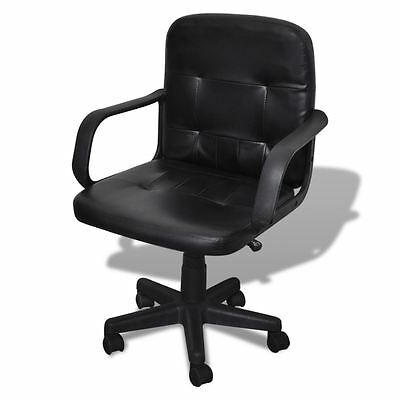 Leather Ergonomic Mid Back Executive Computer Desk Task Office Chair Black
